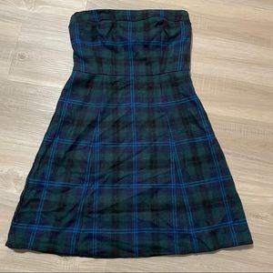 American Eagle Plaid Wool Strapless Dress